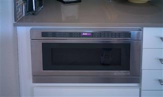Flush mount under cabinet microwave