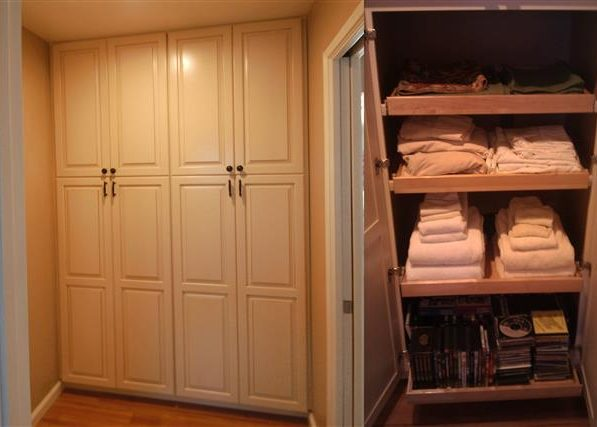 Linen pantry cabinets roll out shelves